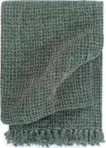 Patura decorativa, verde inchis, 220 x 250 cm, bumbac de la Vidaxl