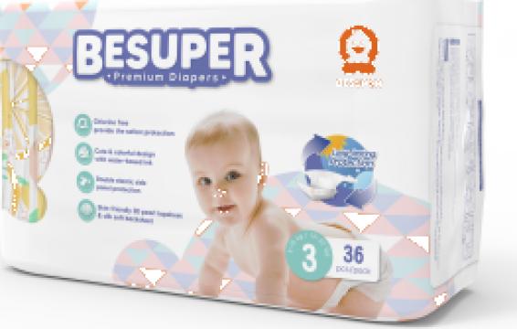 Scutece Besuper Premium marimea 3 (M) 6-10 kg - 34 buc.
