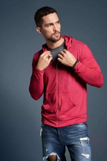 Bluza barbati Adult Tri-blend Full-Zip Hooded Jacket