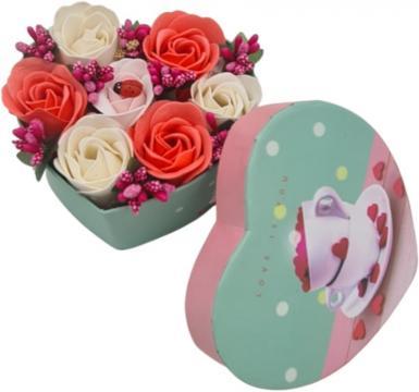 Aranjament floral 7 trandafirii rosii, alb, roz cutie inima de la Dali Mag Online Srl