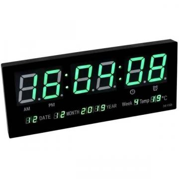 Ceas digital de perete cu afisaj termometru, calendar si LED