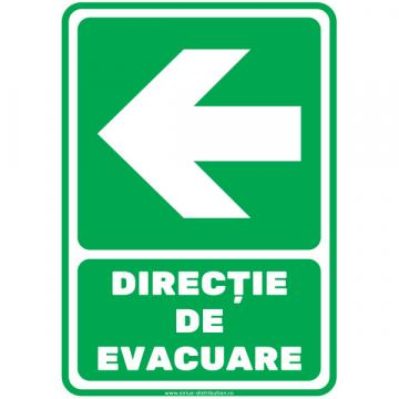 Indicator autocolant Directie de evacuare stanga de la Sirius Distribution Srl