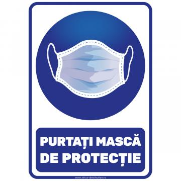 Indicator autocolant - Purtati masca de protectie - A5 de la Sirius Distribution Srl