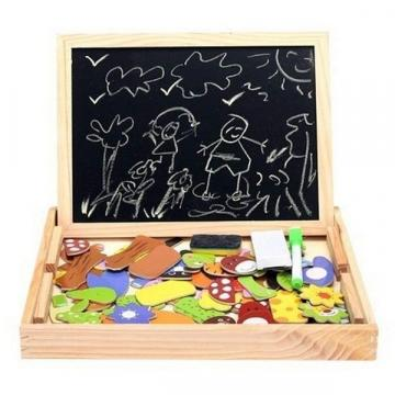 Tablita din lemn magnetica cu 2 fete si piese puzzle