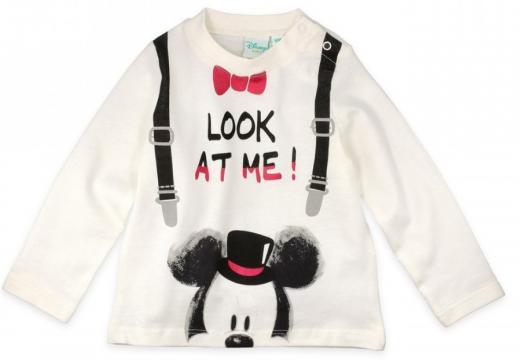Tricou cu maneca lunga, bebe, Mickey, Disney, bumbac, alb de la A&P Collections Online Srl-d