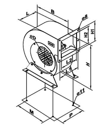 Ventilator centrifugal VCUN 355x143-4.0-4