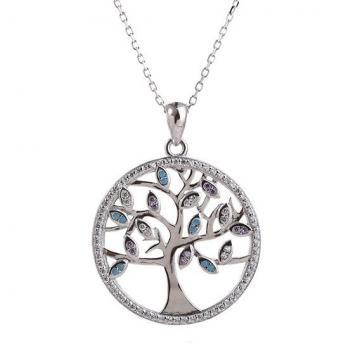 Colier argint 925% Deep Colorful Tree of Life Pandant de la Luxury Concepts Srl