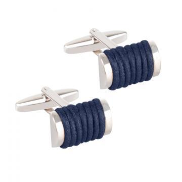 Butoni pentru camasa - Blue Leather Wrap