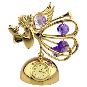 Figurina Ingeras cu cristale Swarovski pe suport cu ceas