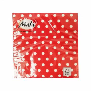 Servetele de masa 33x33cm, rosu cu buline - 3 straturi de la Sanito Distribution Srl