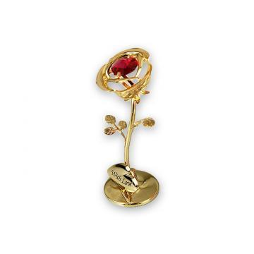 Figurina Trandafir cu cristale Swarovski