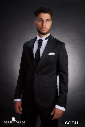 Costume barbati - Smoking negru, guler spitz, 16CSN