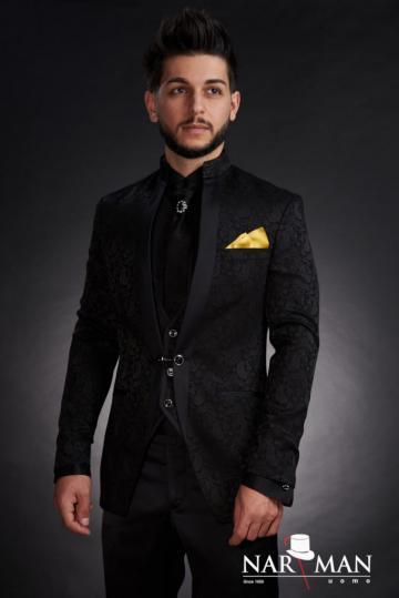Costume barbati - Smoking negru, guler tunica, 01CNF