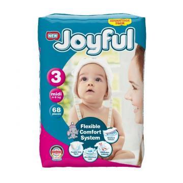 Scutece copii Joyful, 204 buc/set, marime 3, Midi, 4-9 kg de la Europe One Dream Trend Srl