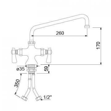 Baterie cu doi robineti si alimentare comuna 16, L=260mm