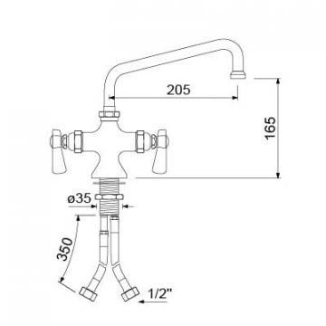 Baterie cu doi robineti si alimentare comuna 16, L=205mm