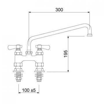 Baterie cu doi robineti si alimentare dubla 16, L=300mm