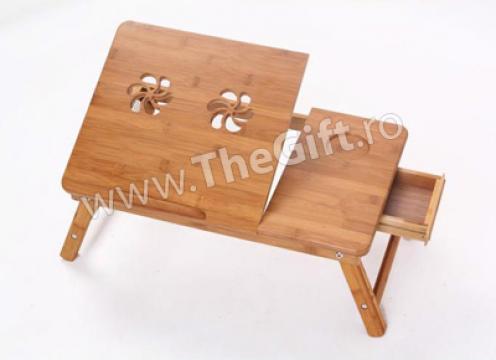 Masa multifunctionala E-Table din lemn de bambus de la Thegift.ro - Cadouri Online