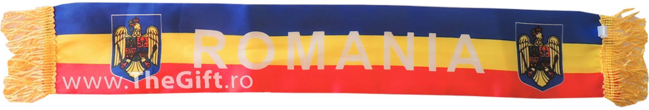 Esarfa tricolor mini Romania, cu ventuze