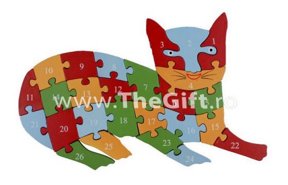 Puzzle 3 D din lemn, cu cifre si litere de la Thegift.ro - Cadouri Online
