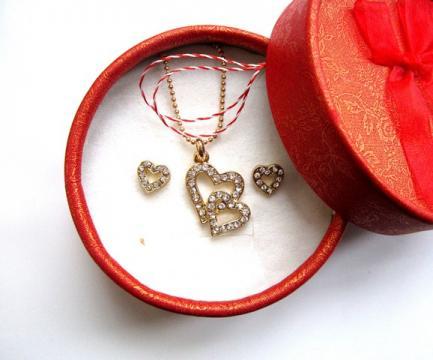 Set bijuterii 1 Martie - Inimioare (SC02-ACGL01) de la Eos Srl (www.martisoare-shop.ro)