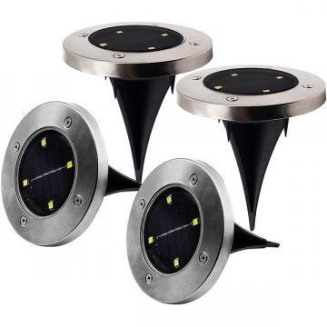 Set 4 lampi solare cu cu 4 LED-uri si senzor de lumina Disk de la Www.oferteshop.ro - Cadouri Online