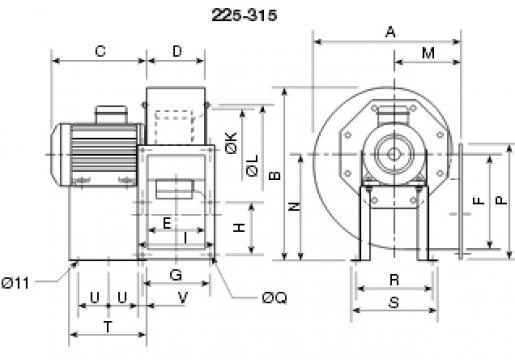 Ventilator centrifugal 400 grade CHMT/6- 315/130 1,1kw de la Ventdepot Srl