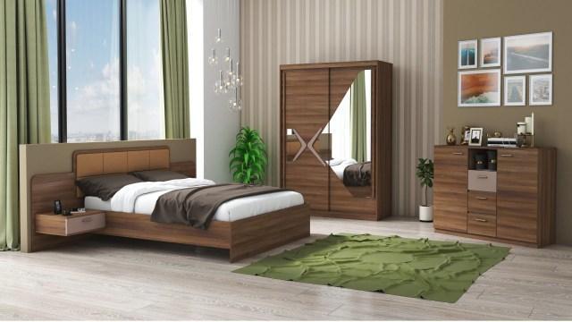 Set dormitor Domino, nuc, dulap 150 cm, pat 160x200 cm de la CB Furniture Srl
