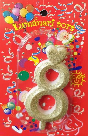 Lumanari tort aurii cifra 8 20 buc/cutie de la Cristian Food Industry Srl.