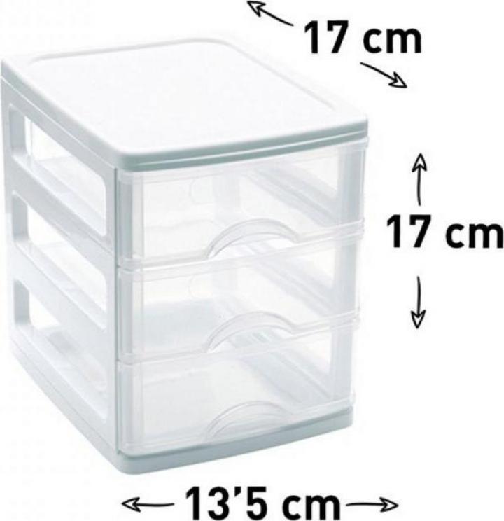 Organizator plastic cu 3 sertare Turia Alb