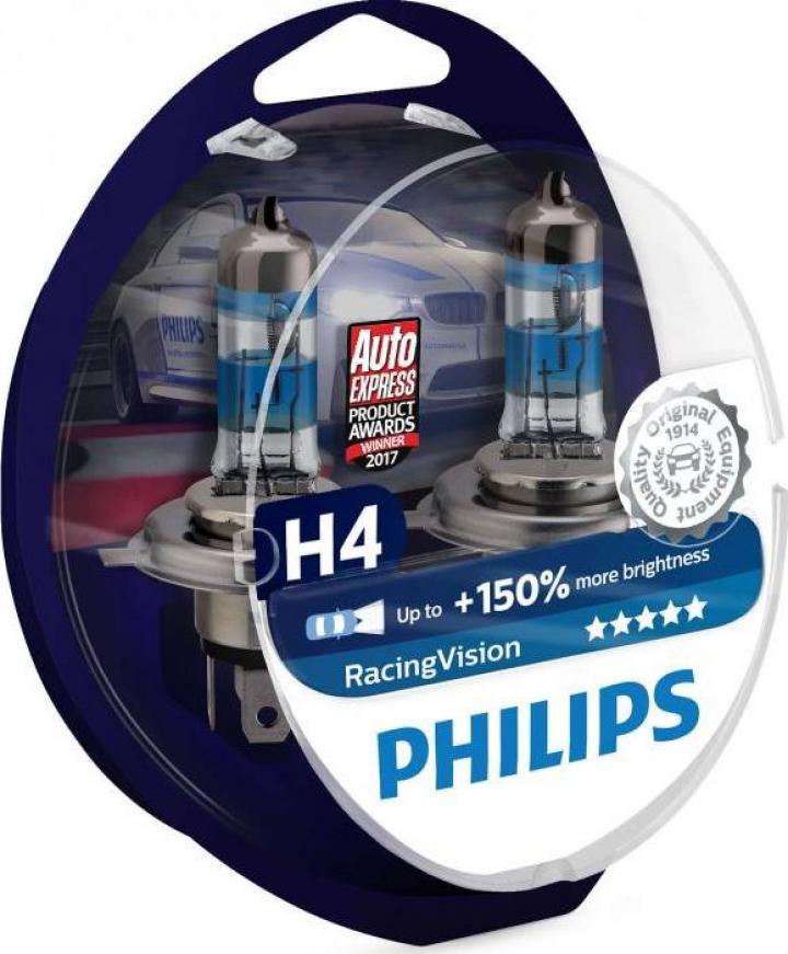Bec halogen H4 Philips Racing Vision +150%