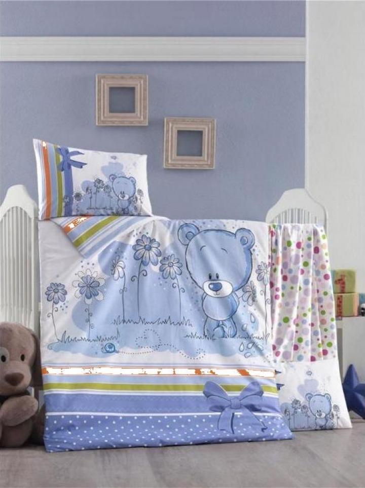 Lenjerie bebe Bear - albastru