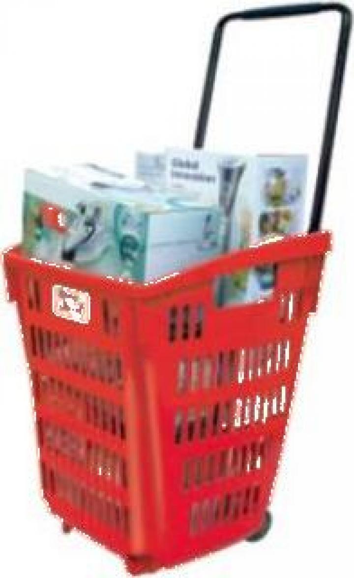 Cos cumparaturi Roller din plastic 52 litri