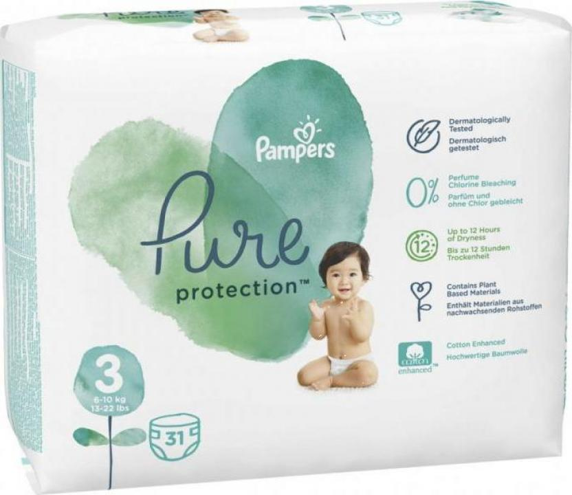 Scutece Pampers Pure Protection 6-10kg Midi 3 (31buc)