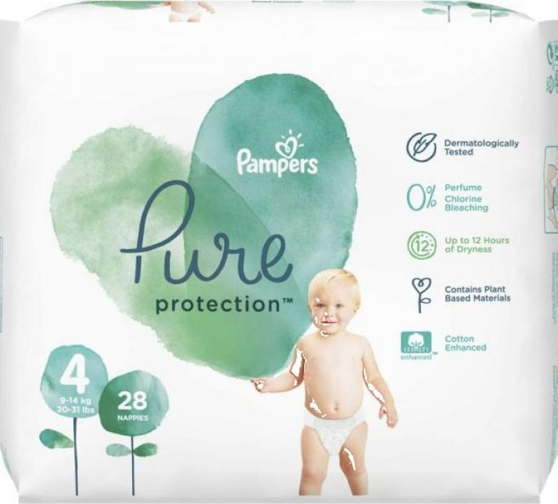Scutece Pampers Pure Protection 9-14kg Maxi 4 (28buc)