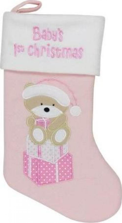 Cizmulita roz pentru cadouri primul Craciun al bebelusului