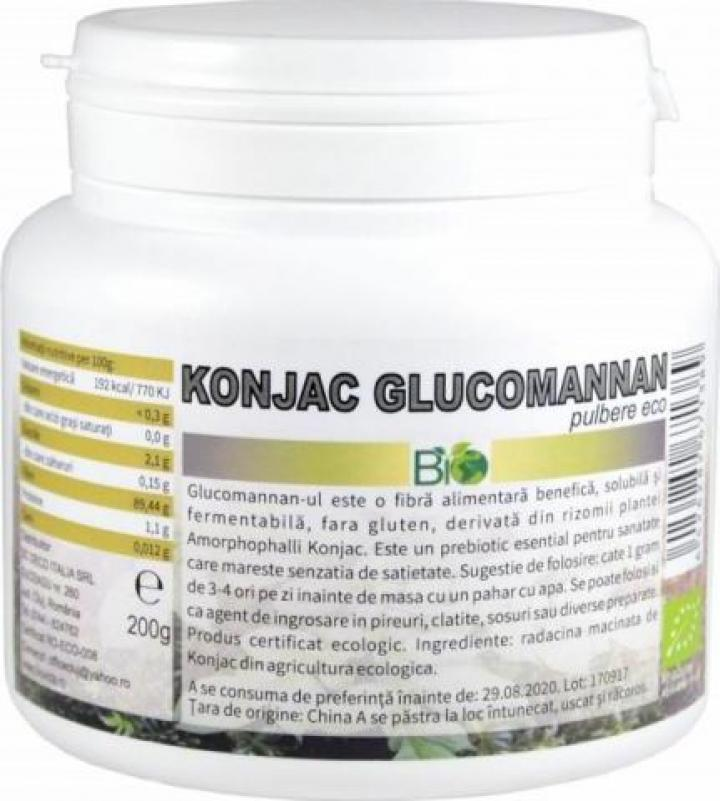 Pulbere Konjac Glucomannan, bio eco 200g