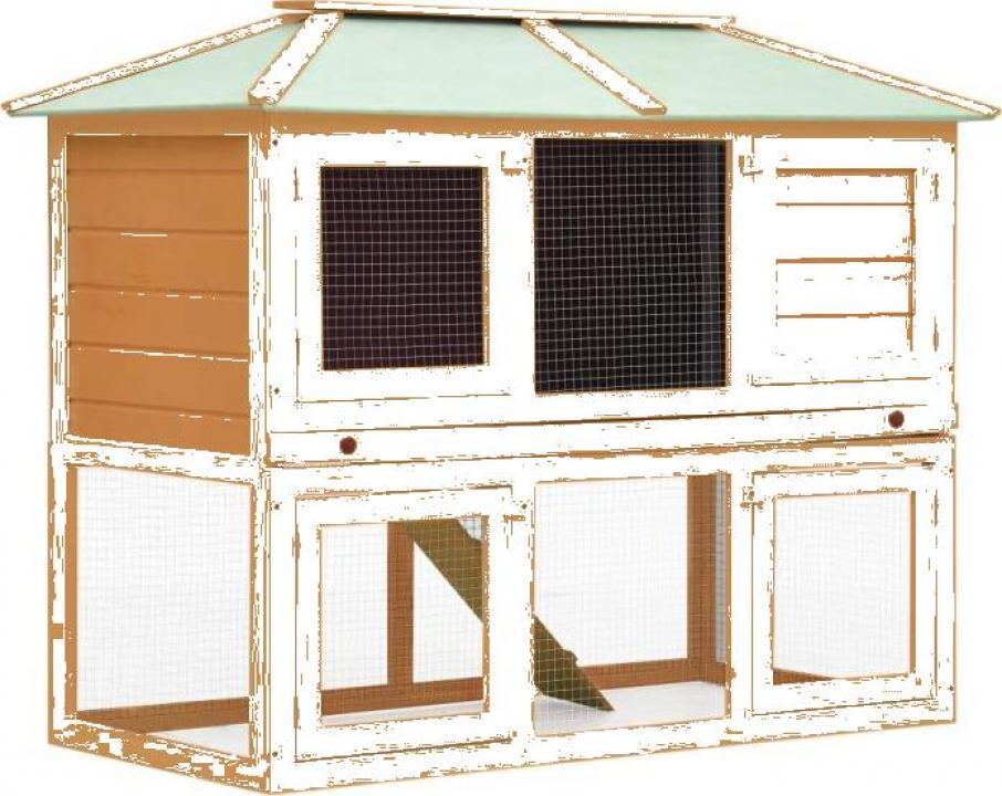Cusca pentru iepuri si alte animale, 2 niveluri, lemn